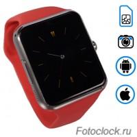 Q7 умные часы телефон красные.